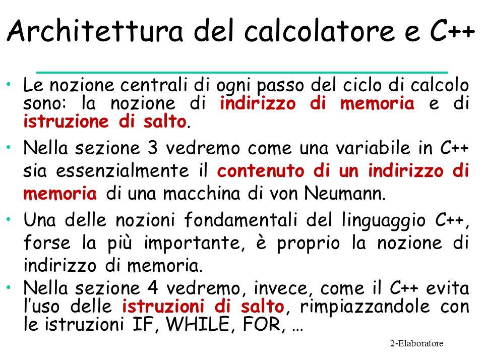 Architettura del calcolatore e C++ Le nozione centrali di ogni passo del ciclo di calcolo sono: la nozione di indirizzo di memoria e di istruzione di salto.