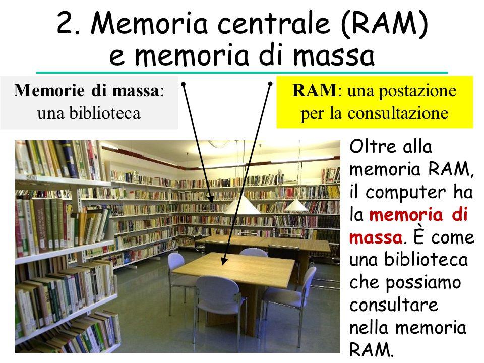 2. Memoria centrale (RAM) e memoria di massa Memorie di massa: una biblioteca RAM: una postazione per la consultazione Oltre alla memoria RAM, il comp