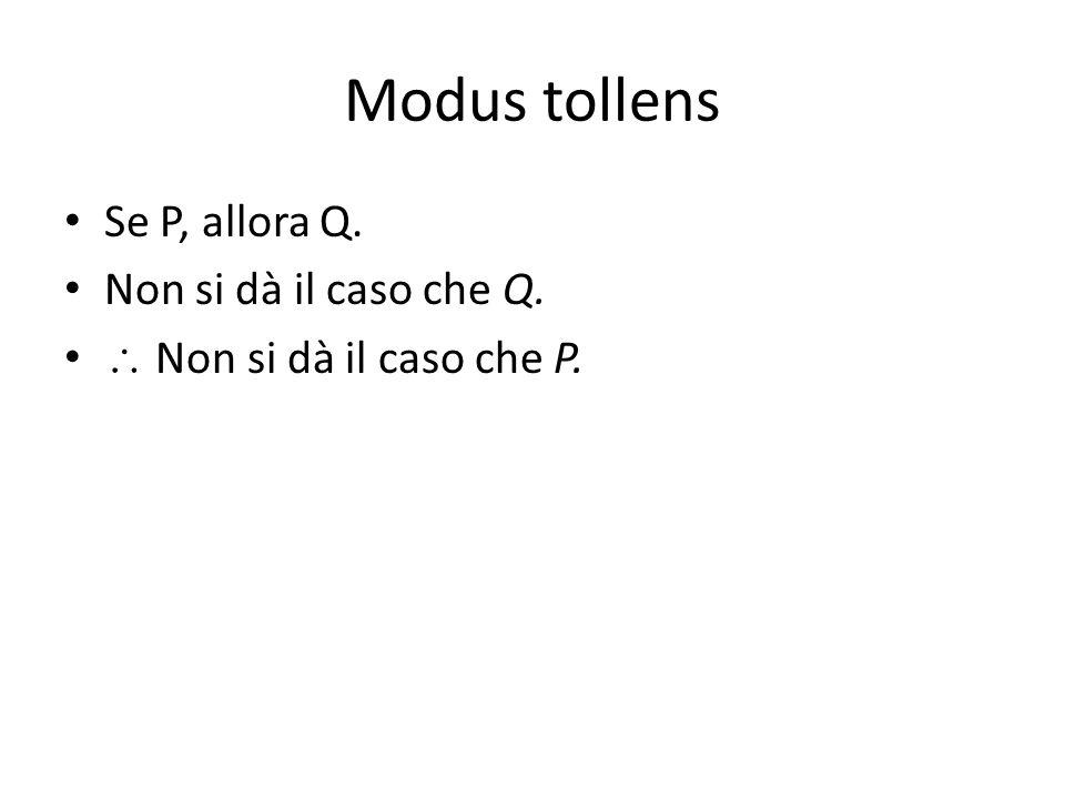 Modus tollens Se P, allora Q. Non si dà il caso che Q.  Non si dà il caso che P.
