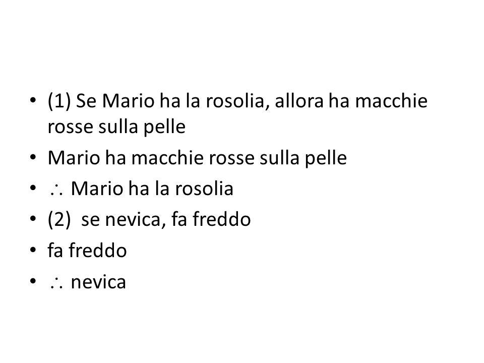 (1) Se Mario ha la rosolia, allora ha macchie rosse sulla pelle Mario ha macchie rosse sulla pelle  Mario ha la rosolia (2) se nevica, fa freddo fa freddo  nevica