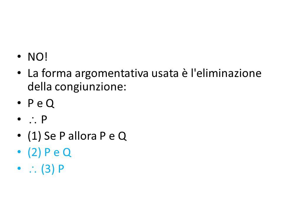 NO! La forma argomentativa usata è l'eliminazione della congiunzione: P e Q  P (1) Se P allora P e Q (2) P e Q  (3) P