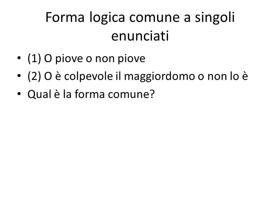 Forma logica comune a singoli enunciati (1) O piove o non piove (2) O è colpevole il maggiordomo o non lo è Qual è la forma comune?