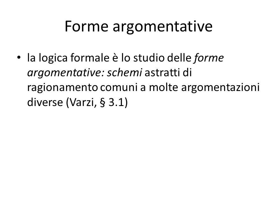 Forme argomentative la logica formale è lo studio delle forme argomentative: schemi astratti di ragionamento comuni a molte argomentazioni diverse (Varzi, § 3.1)