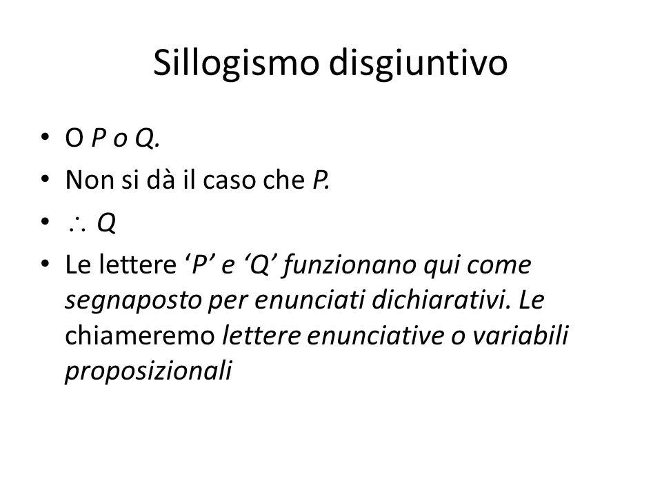 Sillogismo disgiuntivo O P o Q. Non si dà il caso che P.