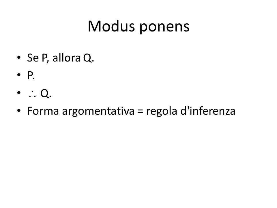 Modus ponens Se P, allora Q. P.  Q. Forma argomentativa = regola d inferenza