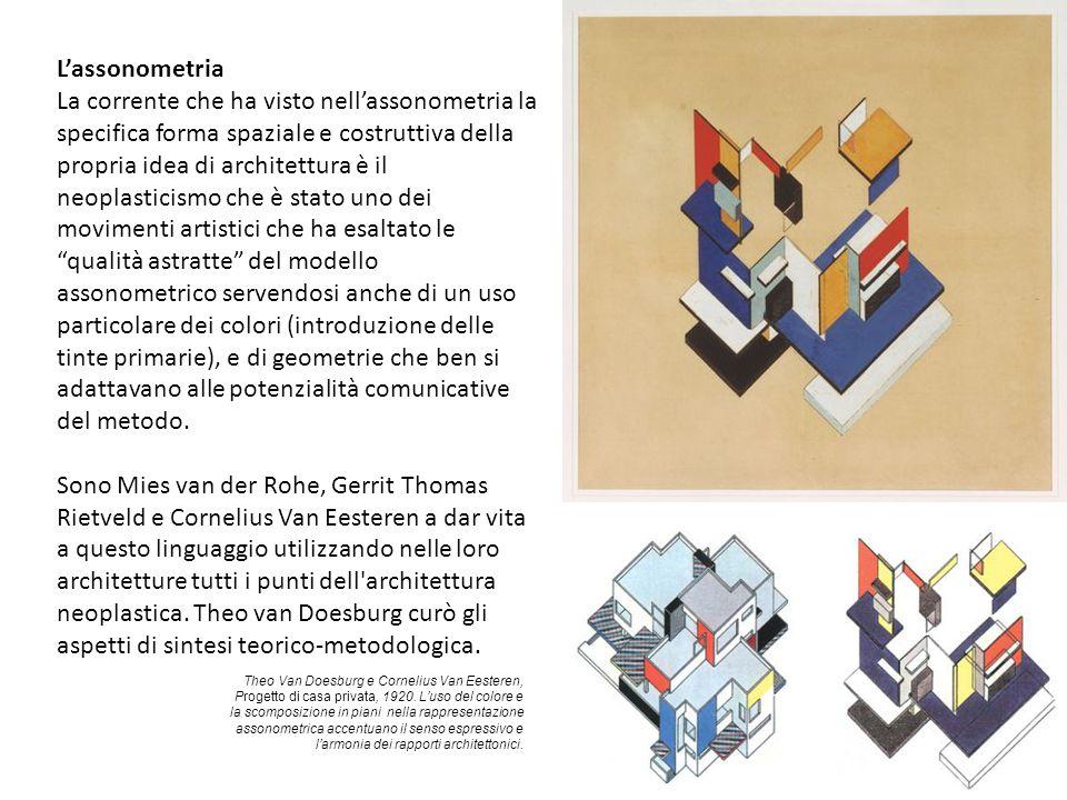 L'assonometria La corrente che ha visto nell'assonometria la specifica forma spaziale e costruttiva della propria idea di architettura è il neoplastic
