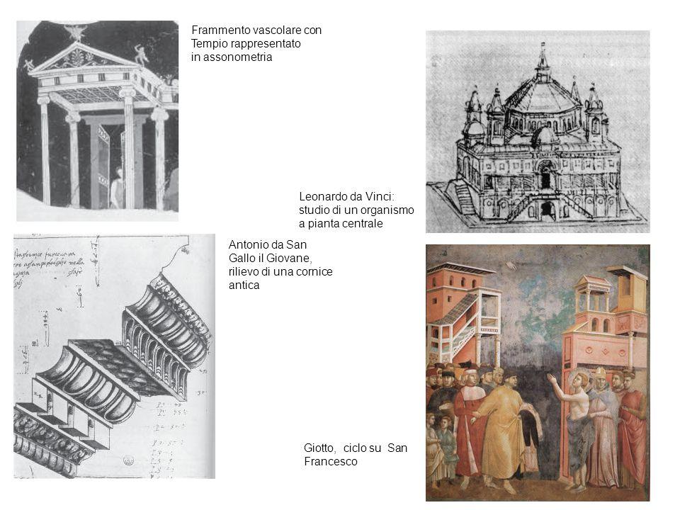 Frammento vascolare con Tempio rappresentato in assonometria Antonio da San Gallo il Giovane, rilievo di una cornice antica Leonardo da Vinci: studio