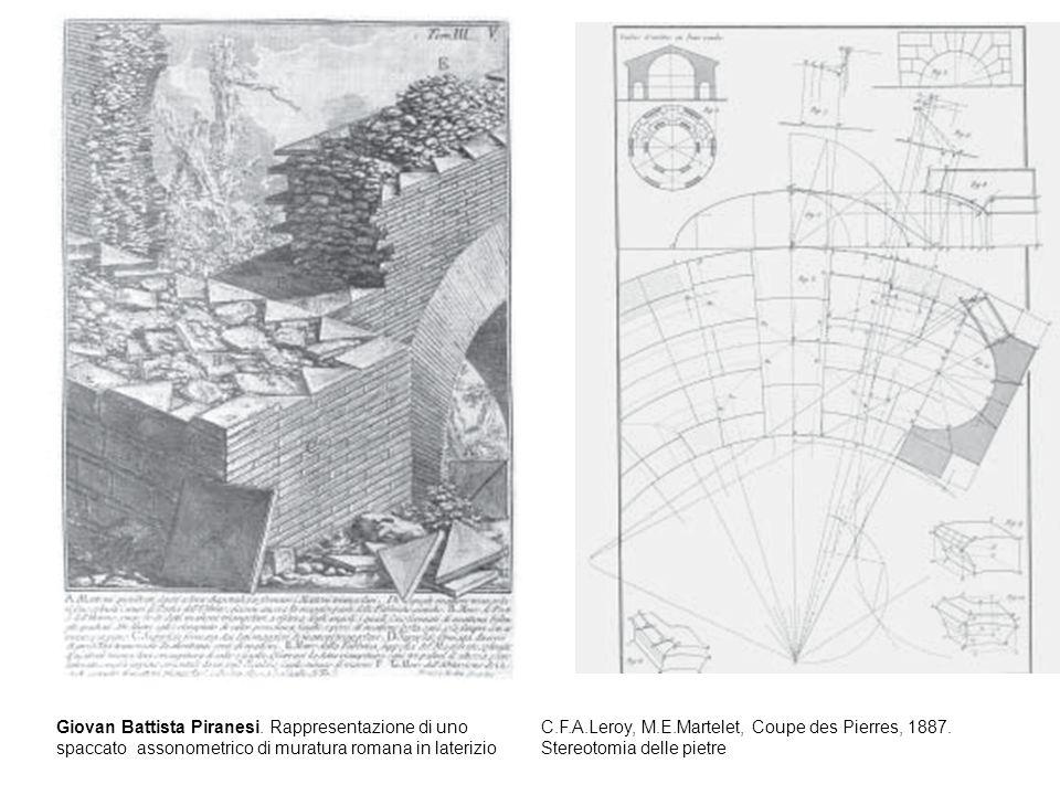 Giovan Battista Piranesi. Rappresentazione di uno spaccato assonometrico di muratura romana in laterizio C.F.A.Leroy, M.E.Martelet, Coupe des Pierres,