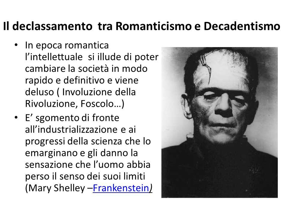 Il declassamento tra Romanticismo e Decadentismo In epoca romantica l'intellettuale si illude di poter cambiare la società in modo rapido e definitivo