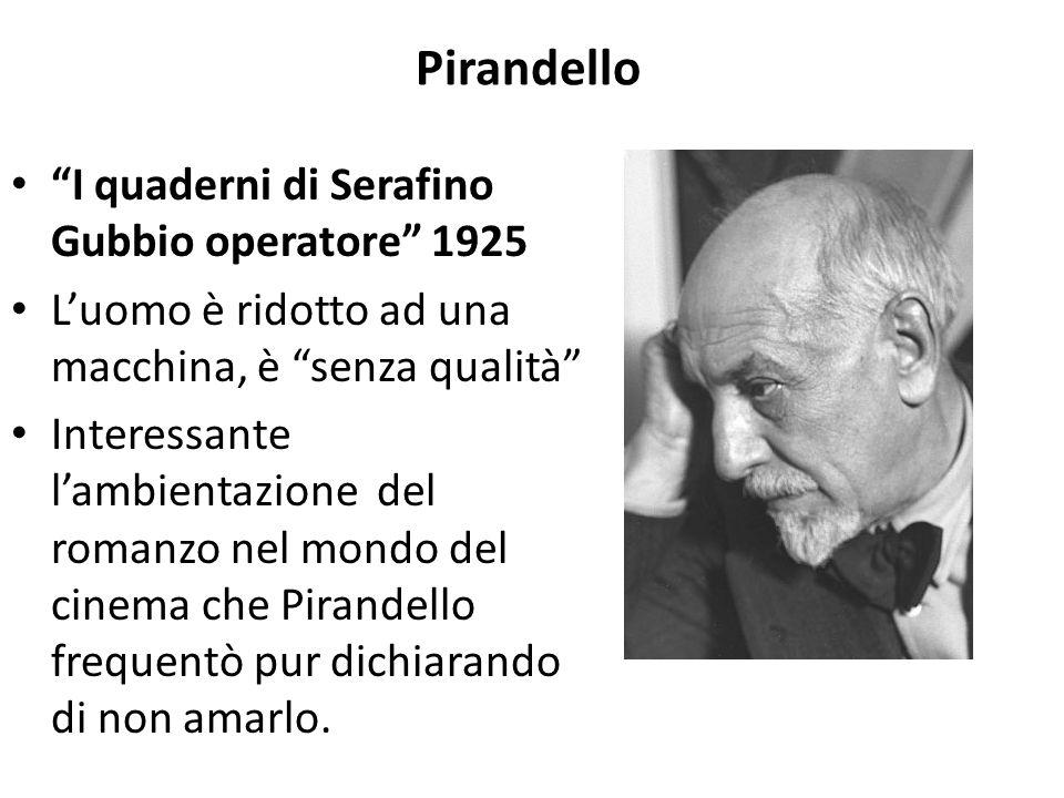 """Pirandello """"I quaderni di Serafino Gubbio operatore"""" 1925 L'uomo è ridotto ad una macchina, è """"senza qualità"""" Interessante l'ambientazione del romanzo"""