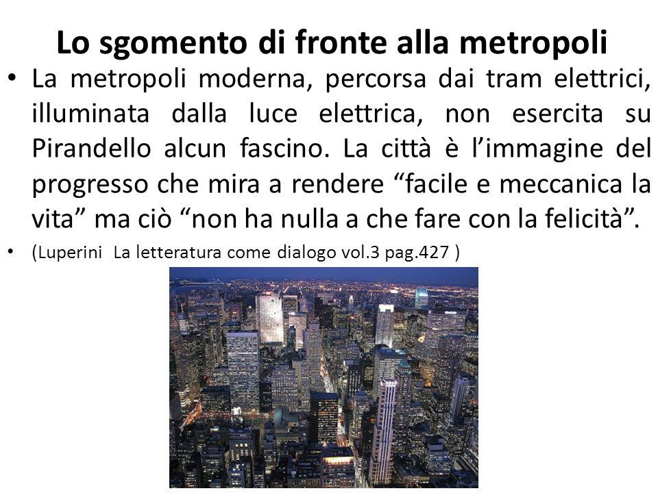 Lo sgomento di fronte alla metropoli La metropoli moderna, percorsa dai tram elettrici, illuminata dalla luce elettrica, non esercita su Pirandello al