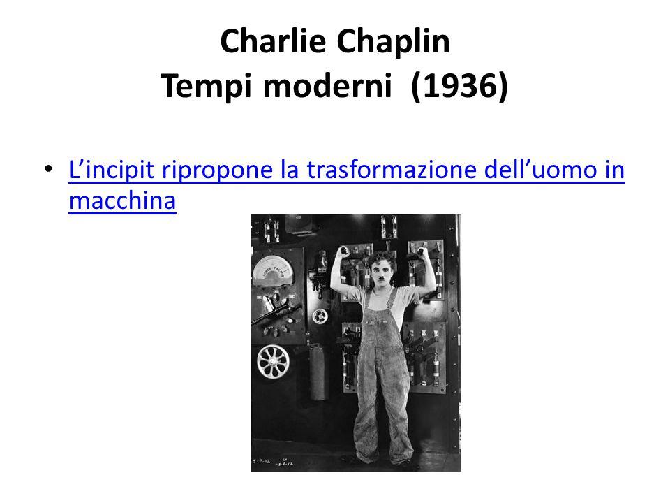 Charlie Chaplin Tempi moderni (1936) L'incipit ripropone la trasformazione dell'uomo in macchina L'incipit ripropone la trasformazione dell'uomo in ma