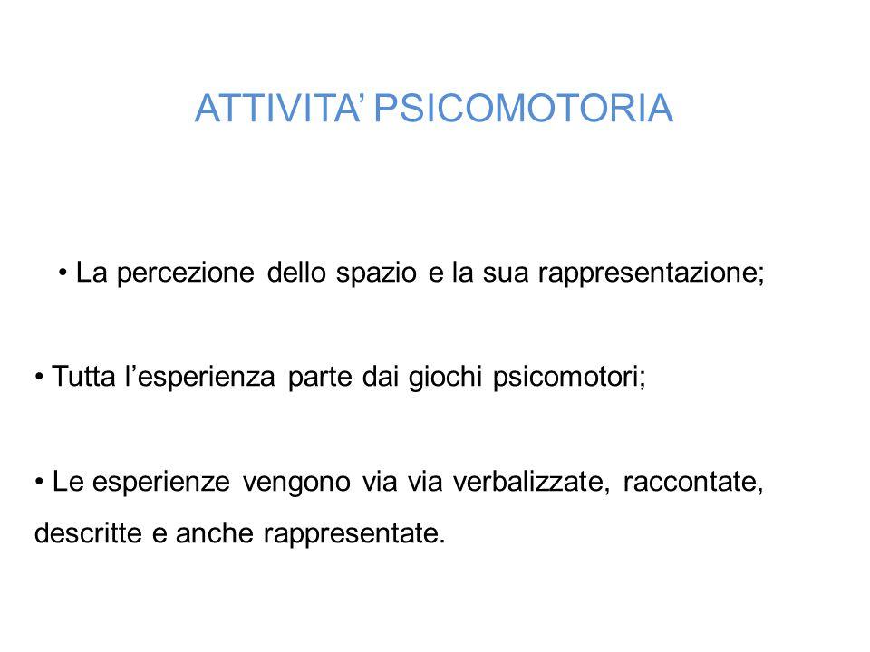 ATTIVITA' PSICOMOTORIA  La percezione dello spazio e la sua rappresentazione; Tutta l'esperienza parte dai giochi psicomotori; Le esperienze vengon