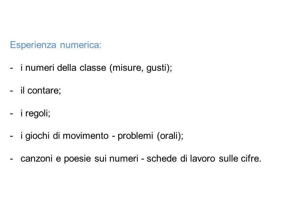 Esperienza numerica: -i numeri della classe (misure, gusti); -il contare; -i regoli; -i giochi di movimento - problemi (orali); -canzoni e poesie sui