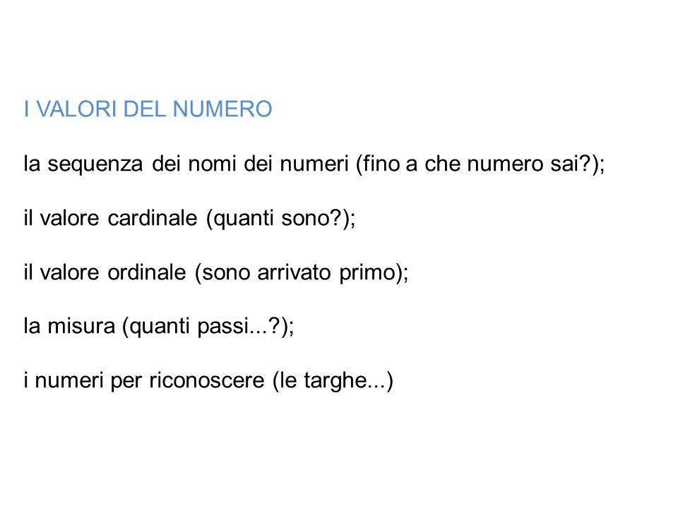 I VALORI DEL NUMERO la sequenza dei nomi dei numeri (fino a che numero sai?); il valore cardinale (quanti sono?); il valore ordinale (sono arrivato pr