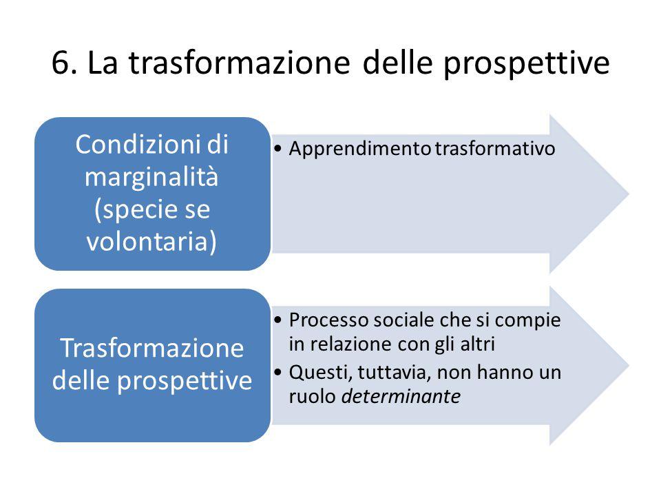6. La trasformazione delle prospettive Apprendimento trasformativo Condizioni di marginalità (specie se volontaria) Processo sociale che si compie in