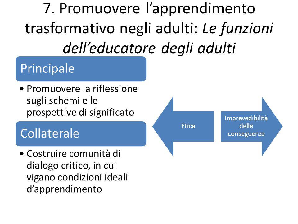 7. Promuovere l'apprendimento trasformativo negli adulti: Le funzioni dell'educatore degli adulti Principale Promuovere la riflessione sugli schemi e