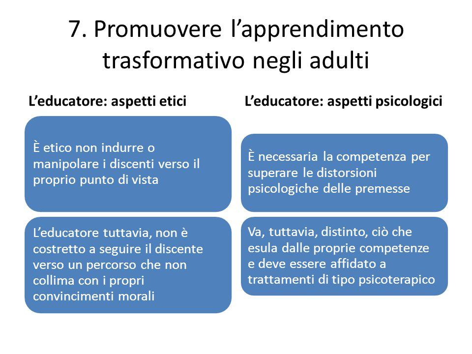 7. Promuovere l'apprendimento trasformativo negli adulti L'educatore: aspetti etici È etico non indurre o manipolare i discenti verso il proprio punto