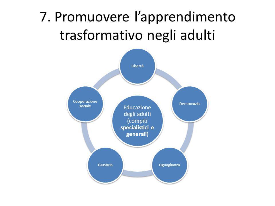 7. Promuovere l'apprendimento trasformativo negli adulti Educazione degli adulti (compiti specialistici e generali) LibertàDemocraziaUguaglianzaGiusti
