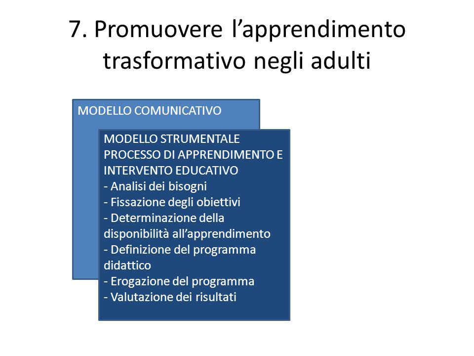7. Promuovere l'apprendimento trasformativo negli adulti MODELLO COMUNICATIVO MODELLO STRUMENTALE PROCESSO DI APPRENDIMENTO E INTERVENTO EDUCATIVO - A