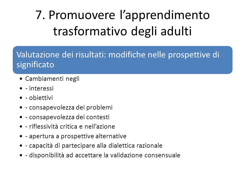 7. Promuovere l'apprendimento trasformativo degli adulti Valutazione dei risultati: modifiche nelle prospettive di significato Cambiamenti negli - int