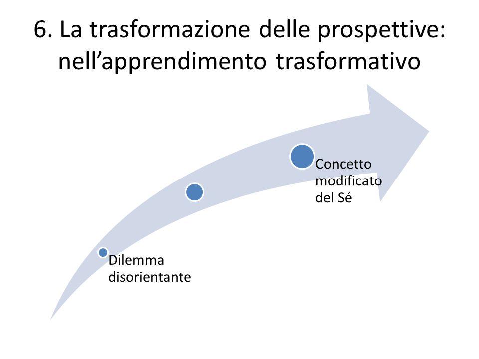 6. La trasformazione delle prospettive: nell'apprendimento trasformativo Dilemma disorientante Concetto modificato del Sé