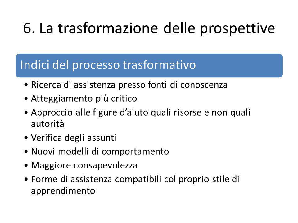 6. La trasformazione delle prospettive Indici del processo trasformativo Ricerca di assistenza presso fonti di conoscenza Atteggiamento più critico Ap