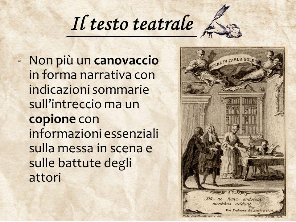 Il testo teatrale -Non più un canovaccio in forma narrativa con indicazioni sommarie sull'intreccio ma un copione con informazioni essenziali sulla me