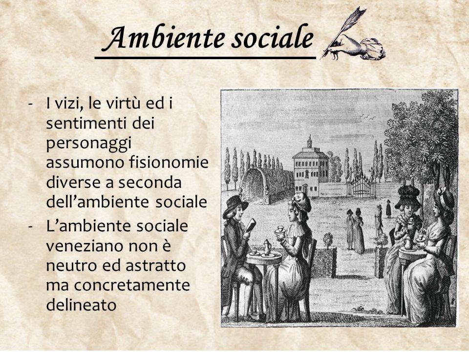 Ambiente sociale -I vizi, le virtù ed i sentimenti dei personaggi assumono fisionomie diverse a seconda dell'ambiente sociale -L'ambiente sociale vene