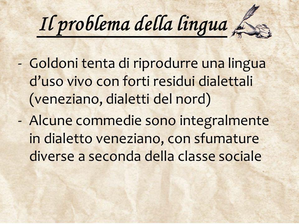 Il problema della lingua -Goldoni tenta di riprodurre una lingua d'uso vivo con forti residui dialettali (veneziano, dialetti del nord) -Alcune commed