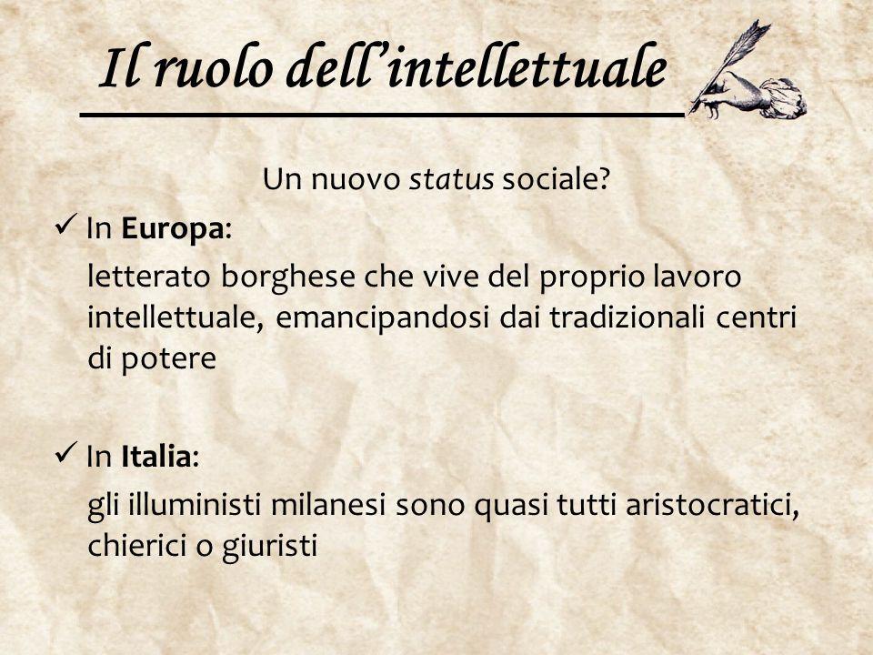 Il ruolo dell'intellettuale Un nuovo status sociale? In Europa: letterato borghese che vive del proprio lavoro intellettuale, emancipandosi dai tradiz