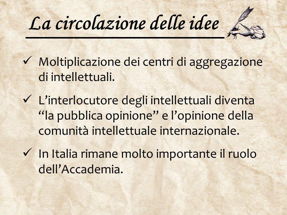 """La circolazione delle idee Moltiplicazione dei centri di aggregazione di intellettuali. L'interlocutore degli intellettuali diventa """"la pubblica opini"""