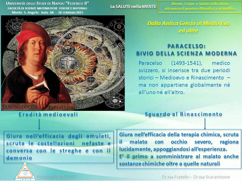 PARACELSO: BIVIO DELLA SCIENZA MODERNA Paracelso (1493-1541), medico svizzero, si inserisce tra due periodi storici – Medioevo e Rinascimento – ma non