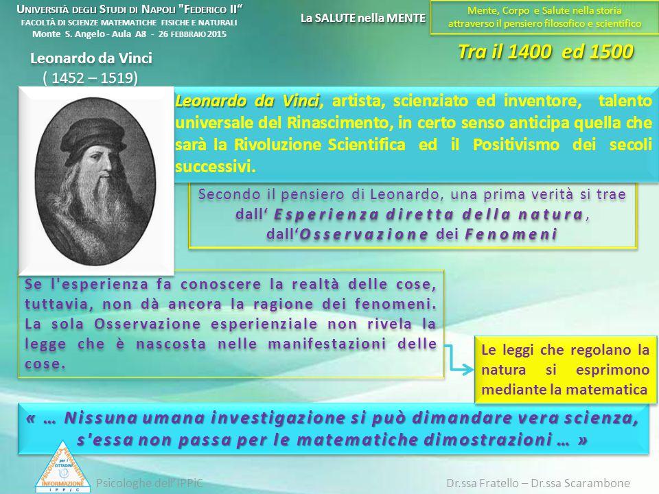 Tra il 1400 ed 1500 Esperienza diretta della natura OsservazioneFenomeni Secondo il pensiero di Leonardo, una prima verità si trae dall' Esperienza di