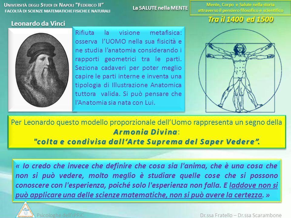 Tra il 1400 ed 1500 Leonardo da Vinci « Io credo che invece che definire che cosa sia l'anima, che è una cosa che non si può vedere, molto meglio è st
