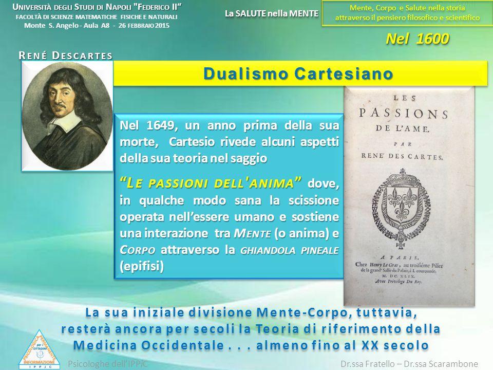 """Nel 1649, un anno prima della sua morte, Cartesio rivede alcuni aspetti della sua teoria nel saggio """"L E PASSIONI DELL ' ANIMA """" dove, in qualche modo"""