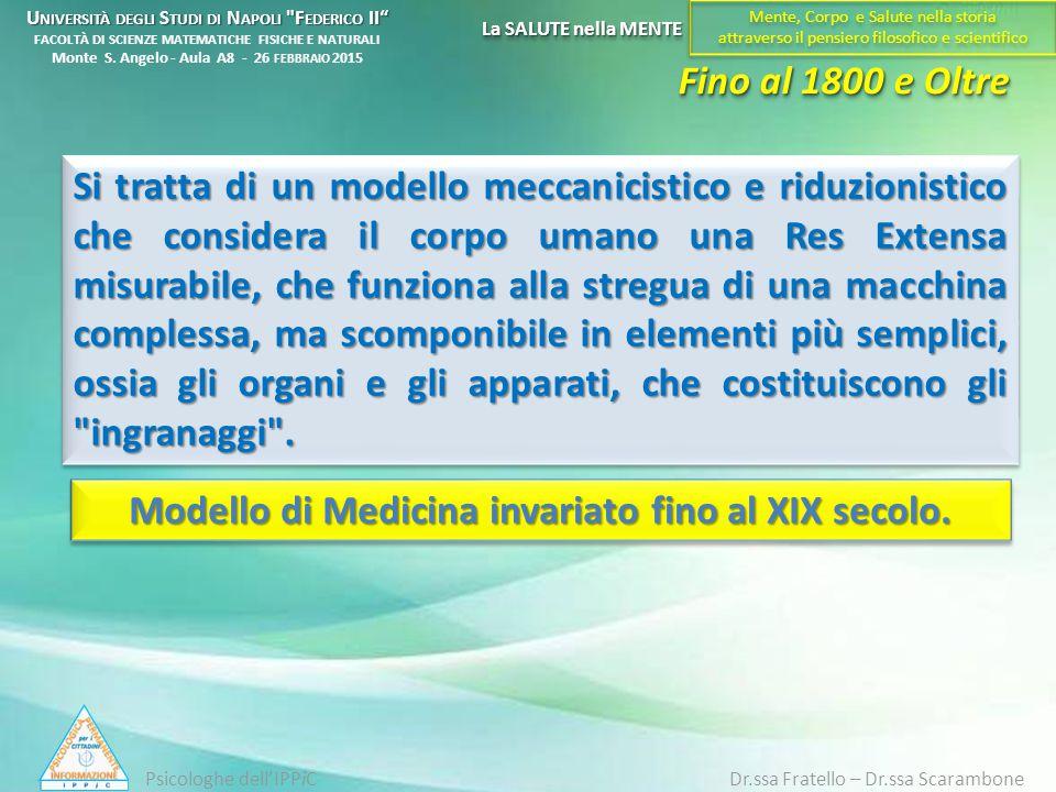Si tratta di un modello meccanicistico e riduzionistico che considera il corpo umano una Res Extensa misurabile, che funziona alla stregua di una macc