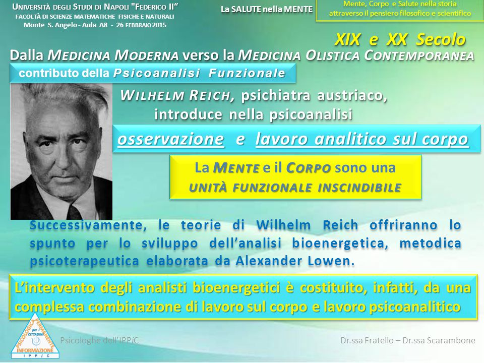Successivamente, le teorie di Wilhelm Reich offriranno lo spunto per lo sviluppo dell'analisi bioenergetica, metodica psicoterapeutica elaborata da Al