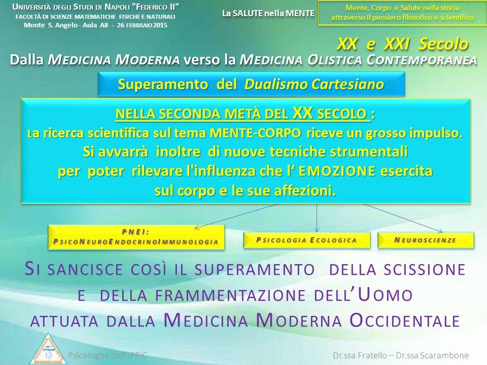 XX e XXI Secolo Dalla M EDICINA M ODERNA verso la M EDICINA O LISTICA C ONTEMPORANEA Superamento del Dualismo Cartesiano Psicologhe dell'IPPiC Dr.ssa