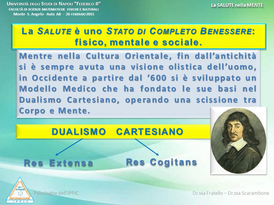 Nasce il DUALISMO CARTESIANO Nel 1600 IN F RANCIA R ENÉ D ESCARTES R ENÉ D ESCARTES (1596-1650) R ENATO C ARTESIO, Filosofo e Matematico, il quale segue ed amplia la visione razionalista baconiana divenendo il padre del Razionalismo Continentale .