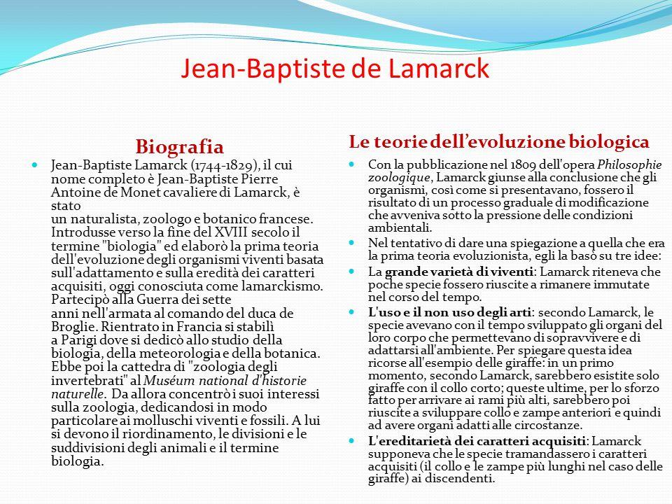 Jean-Baptiste de Lamarck Biografia Le teorie dell'evoluzione biologica Jean-Baptiste Lamarck (1744-1829), il cui nome completo è Jean-Baptiste Pierre Antoine de Monet cavaliere di Lamarck, è stato un naturalista, zoologo e botanico francese.