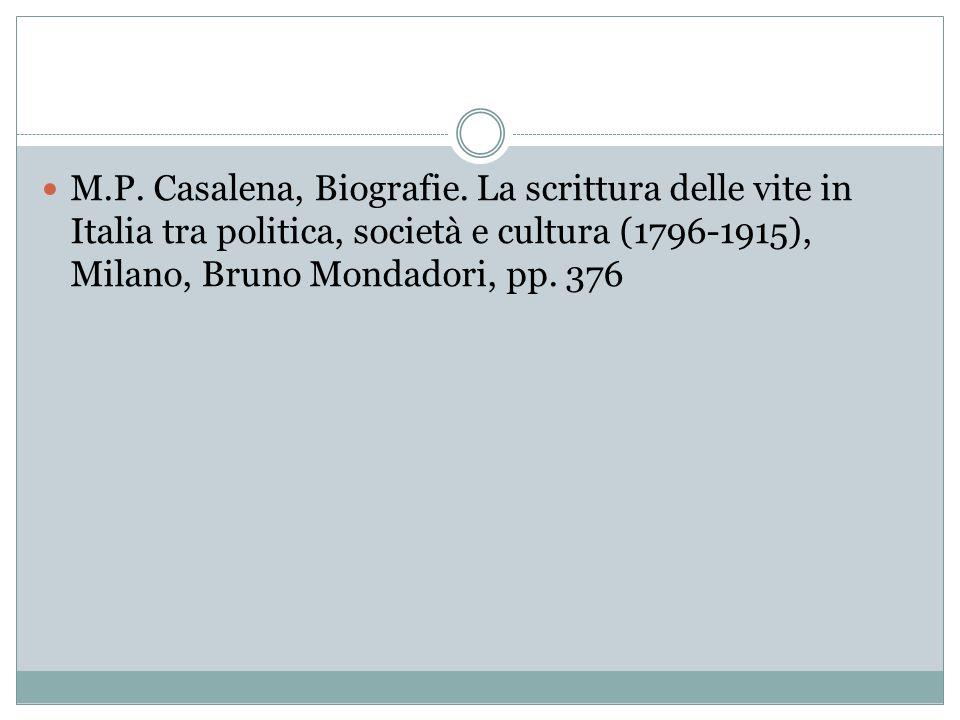 M.P. Casalena, Biografie. La scrittura delle vite in Italia tra politica, società e cultura (1796-1915), Milano, Bruno Mondadori, pp. 376