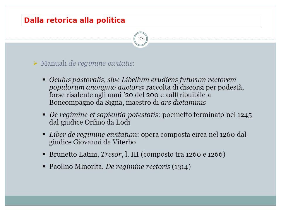 Dalla retorica alla politica 23  Manuali de regimine civitatis:  Oculus pastoralis, sive Libellum erudiens futurum rectorem populorum anonymo auctor