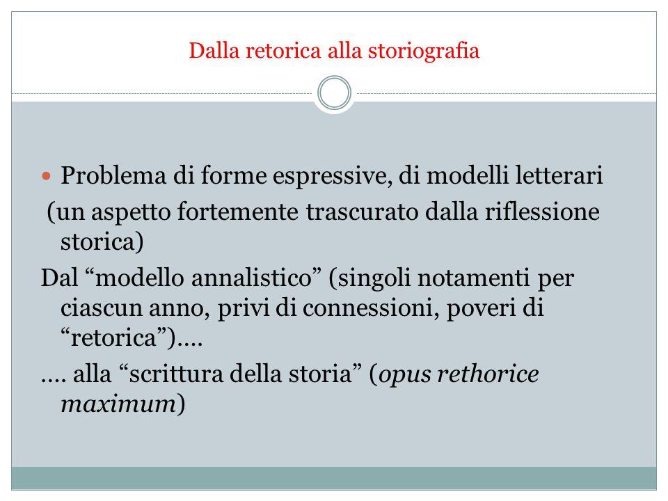 """Dalla retorica alla storiografia Problema di forme espressive, di modelli letterari (un aspetto fortemente trascurato dalla riflessione storica) Dal """""""