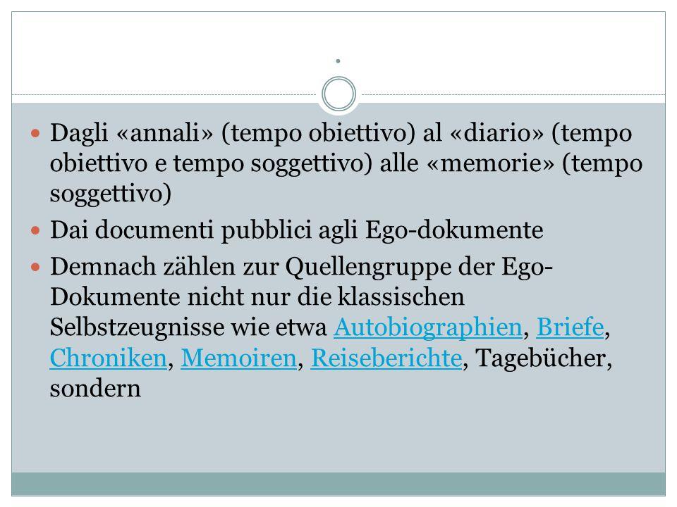 . Dagli «annali» (tempo obiettivo) al «diario» (tempo obiettivo e tempo soggettivo) alle «memorie» (tempo soggettivo) Dai documenti pubblici agli Ego-