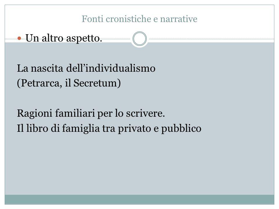 Fonti cronistiche e narrative Un altro aspetto. La nascita dell'individualismo (Petrarca, il Secretum) Ragioni familiari per lo scrivere. Il libro di