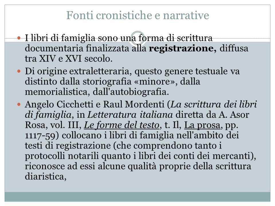 Fonti cronistiche e narrative I libri di famiglia sono una forma di scrittura documentaria finalizzata alla registrazione, diffusa tra XIV e XVI secol
