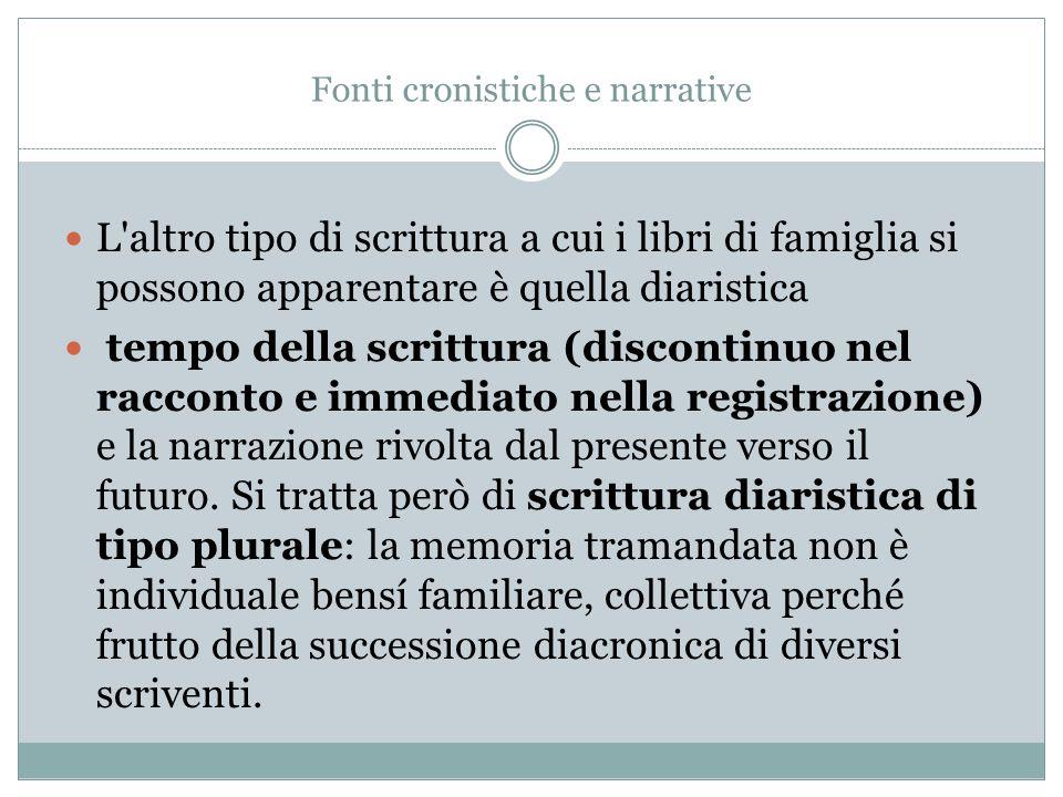 Fonti cronistiche e narrative L'altro tipo di scrittura a cui i libri di famiglia si possono apparentare è quella diaristica tempo della scrittura (di