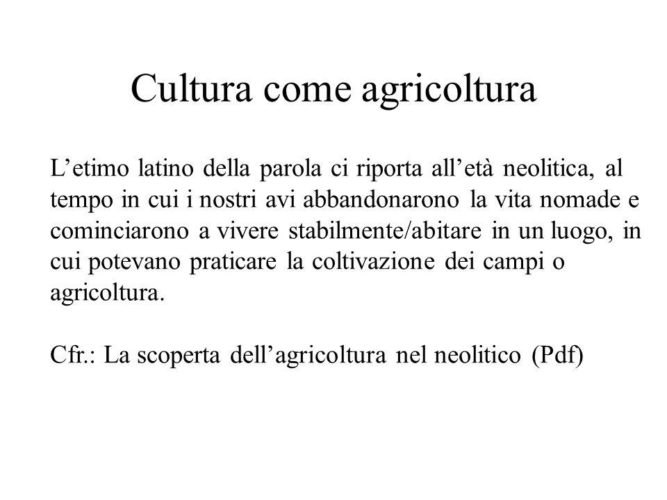 Cultura come agricoltura L'etimo latino della parola ci riporta all'età neolitica, al tempo in cui i nostri avi abbandonarono la vita nomade e cominciarono a vivere stabilmente/abitare in un luogo, in cui potevano praticare la coltivazione dei campi o agricoltura.