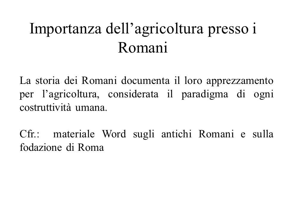 Importanza dell'agricoltura presso i Romani La storia dei Romani documenta il loro apprezzamento per l'agricoltura, considerata il paradigma di ogni costruttività umana.